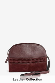 Berry Leather Dome Across Body Bag