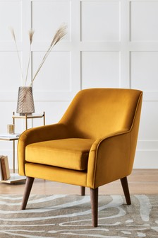 Opulent Velvet Ochre Ari Accent Chair With Mid Legs