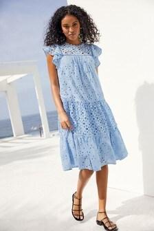 Blue Broderie Ruffle Sleeve Midi Dress