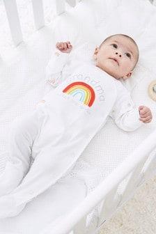 White Grandma Rainbow Sleepsuit (0-18mths)