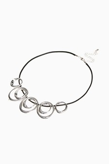 Silver Tone/Black Whirl Collar Necklace