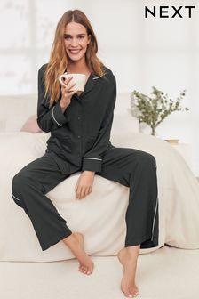 Black With White Piping Button Through Pyjamas