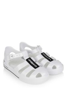 White Logo Jelly Sandals