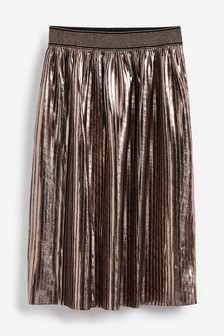 Bronze Metallic Pleated Midi Skirt (3-16yrs)