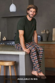 Green/Neutral Check Woven Pyjama Set