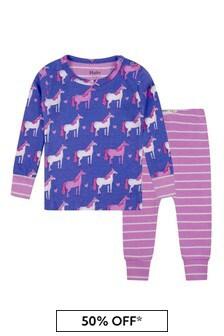 Purple Baby Girls Organic Cotton Purple/Pink Pyjamas Two Pack