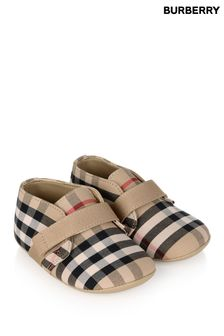Baby Beige Vintage Check Cotton Shoes