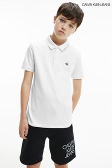 Calvin Klein Jeans White Monogram Fitted Polo