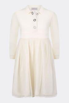 فستان جيرسي قطن لون عاجي بناتي