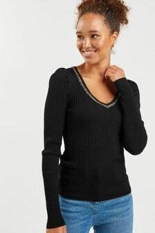 Black Embellished Neckline Jumper