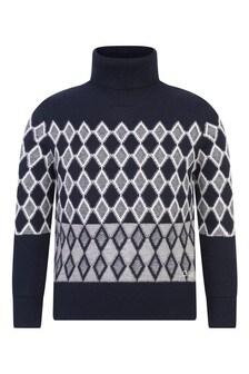 Girls Navy Cotton & Wool Turtleneck Sweater
