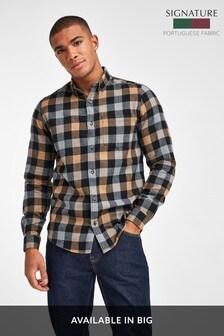 Tan Regular Fit Buffalo Check Brushed Flannel Long Sleeve Shirt