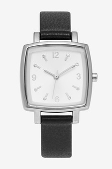 Black Square Case Strap Watch