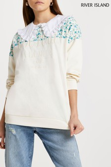 River Island Cream Couture Floral Panel Sweater