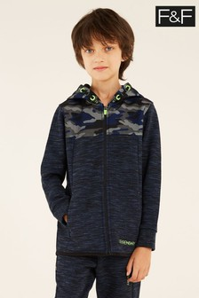 F&F Navy Camo Mesh Zip-Through Top