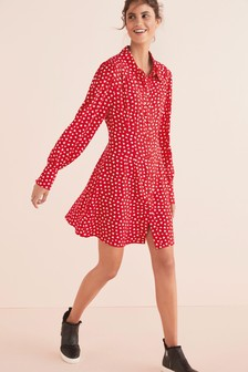 Red Heart Collar Mini Shirt Dress