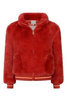 Girls Red Faux Fur Jacket