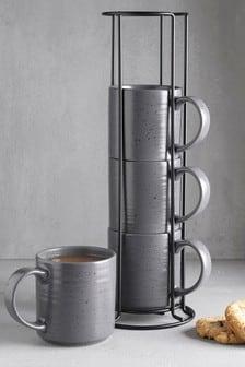 Set of 4 Kya Reactive Stacking Mugs