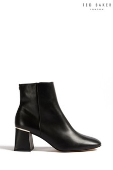 Ted Baker Black Squarel Ankle Heeled Boots
