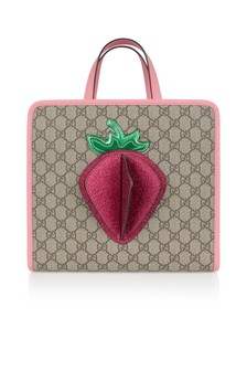 Girls Beige GG Strawberry Tote Bag