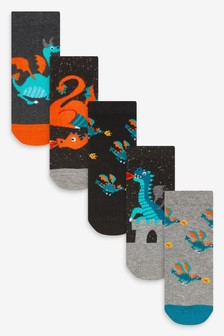 Monochrome 5 Pack Dragon Cotton Rich Socks (Younger)