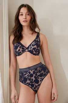 Navy Carrie Non Padded Wired High Apex Bra