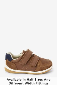 Tan Standard Fit (F) Leather First Walker Shoes