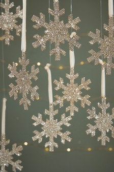 8 Pack Snowflake Baubles