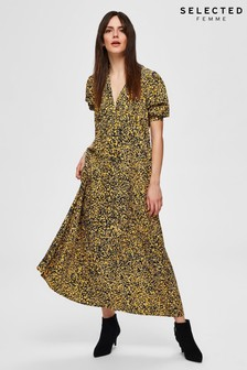 Selected Femme Yellow Speckle Print Juana Midi Dress