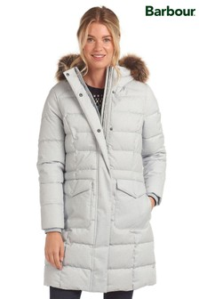 Barbour® Coastal Twill Effect Guanay Longline Padded Coat
