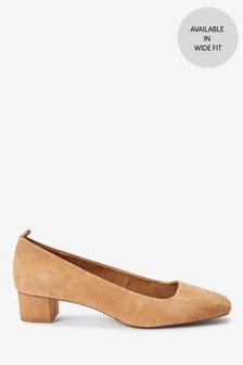 Camel Leather Low Block Heel Shoes