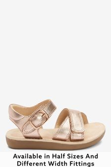 Rose Gold Leather Wide Fit (G) Little Luxe Sandals