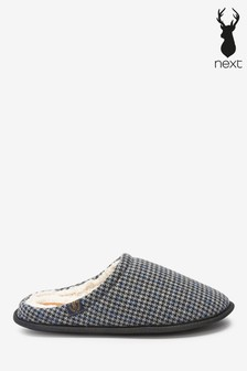 Grey Houndstooth Stag Mule Slippers