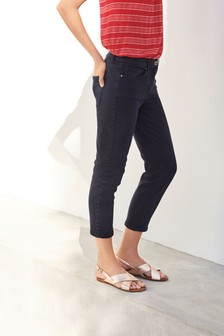 Navy Cropped Straight Jeans