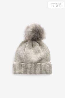 Grey Cashmere Blend Pom Hat