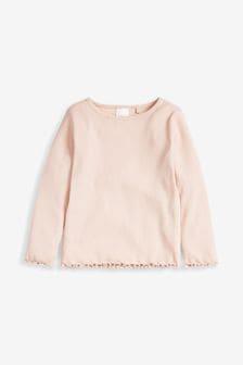 Pale Pink Long Sleeve Rib T-Shirt (3mths-8yrs)