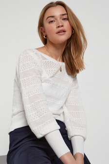 White Pointelle Stitch Detail Jumper
