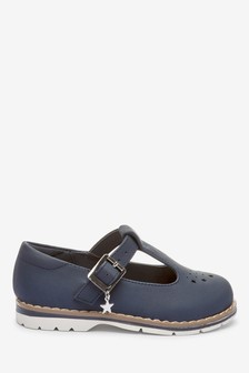 Navy Star Charm T-Bar Shoes (Younger)