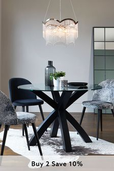 Black Oak & Glass Round Dining Table
