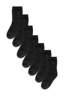 Black 7 Pack Cushioned Footbed Cotton Rich Embroidered Socks (Older)
