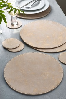 Set of 8 Rose Gold Faux Leather Placemats And Coasters