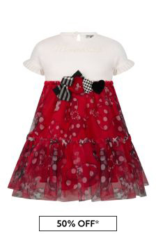Girls Red/Ivory Tulle Dress