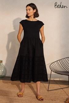 Boden Blue Trim Detail Jersey Midi Dress