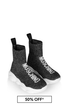 Girls Black Lurex Sock Trainers