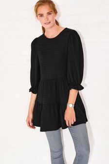 Black Textured Short Sleeve Tiered Tunic