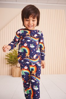 Navy Rainbow Santa Christmas Snuggle Pyjamas (9mths-12yrs)