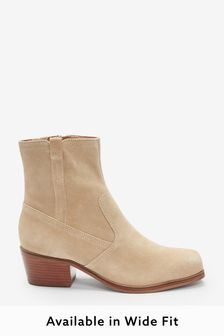 Nude Regular/Wide Fit Suede Western Ankle Boots
