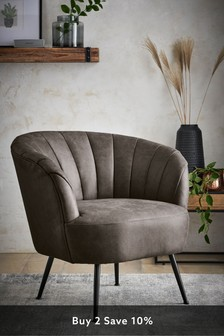 Monza Faux Leather Grey Stella Accent Chair With Black Legs