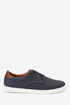 Navy Faux Suede Perforated Derby Shoes
