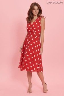 Gina Bacconi Red Saphira Chiffon Spot Dress